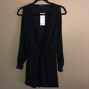 Woman's Long Sleeve Black V-Neck Romper